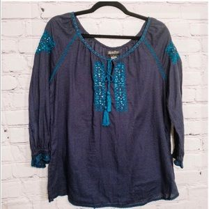 Lucky Brand Navy Blue Embroidered Peasant Blouse